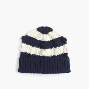 J. Crew Striped pom-pom hat